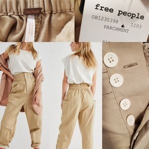 NEW FREE PEOPLE CINCH WAIST PANTS SMALL PARCHMENT